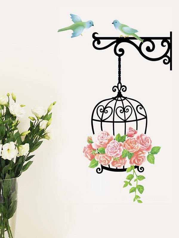 Best Flower Cage and Birds Print Decorative Wall Art Stickers