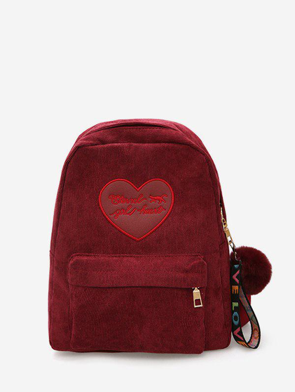 Cheap Letter Heart Fuzzy Ball Pendant Student Backpack