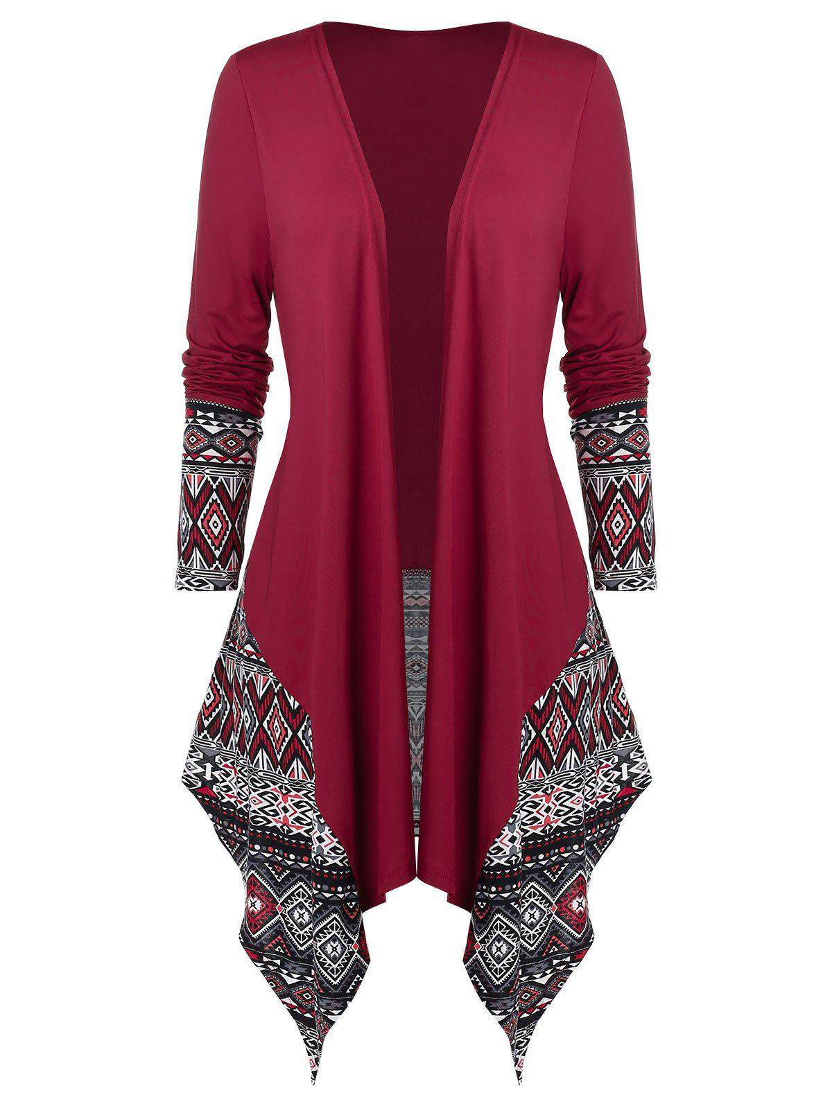 Discount Plus Size Asymmetrical Ethnic Pattern Open Draped Cardigan