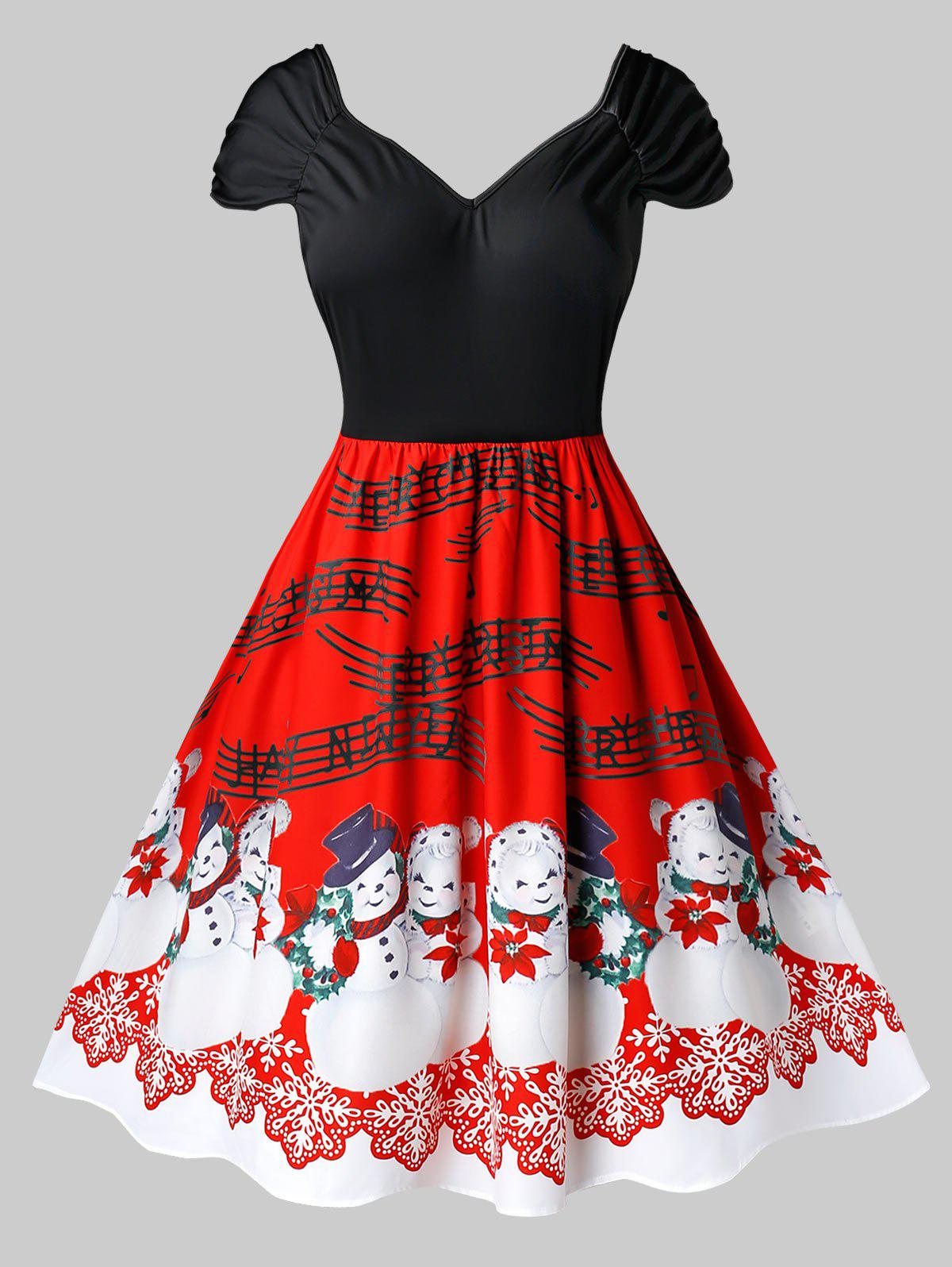 Trendy Plus Size Vintage Snowman Musical Notes Christmas Dress