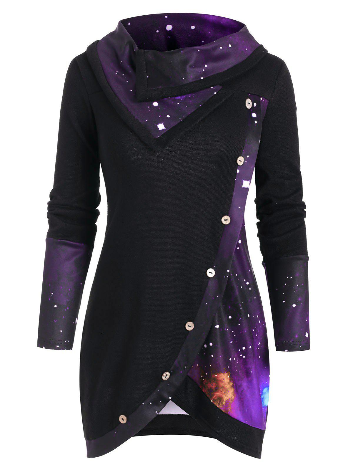 Chic Galaxy Print Panel Mock Button Cowl Neck Sweater