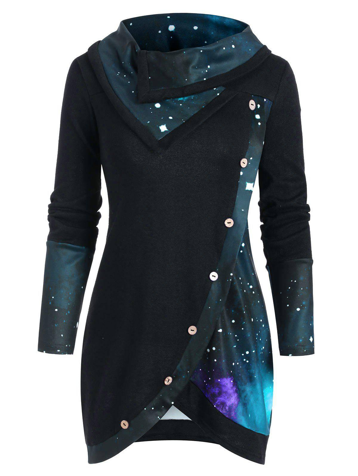 Store Galaxy Print Panel Mock Button Cowl Neck Sweater