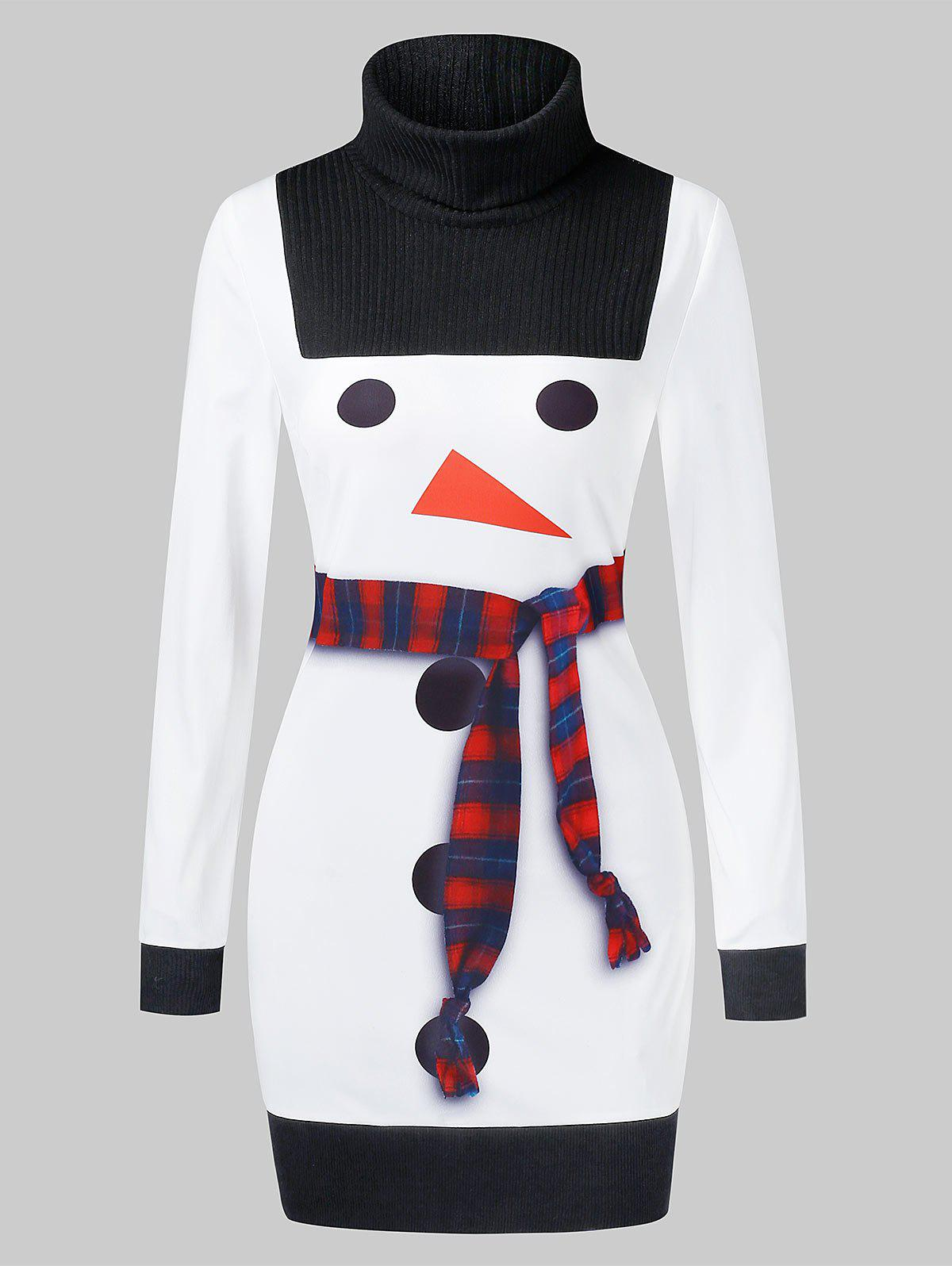 Cheap Christmas Snowman Print High Collar Bodycon Dress