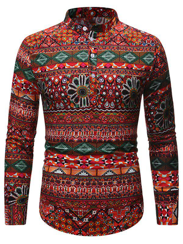 Latest Ethnic Geometric Pattern Stand Collar Henley Shirt