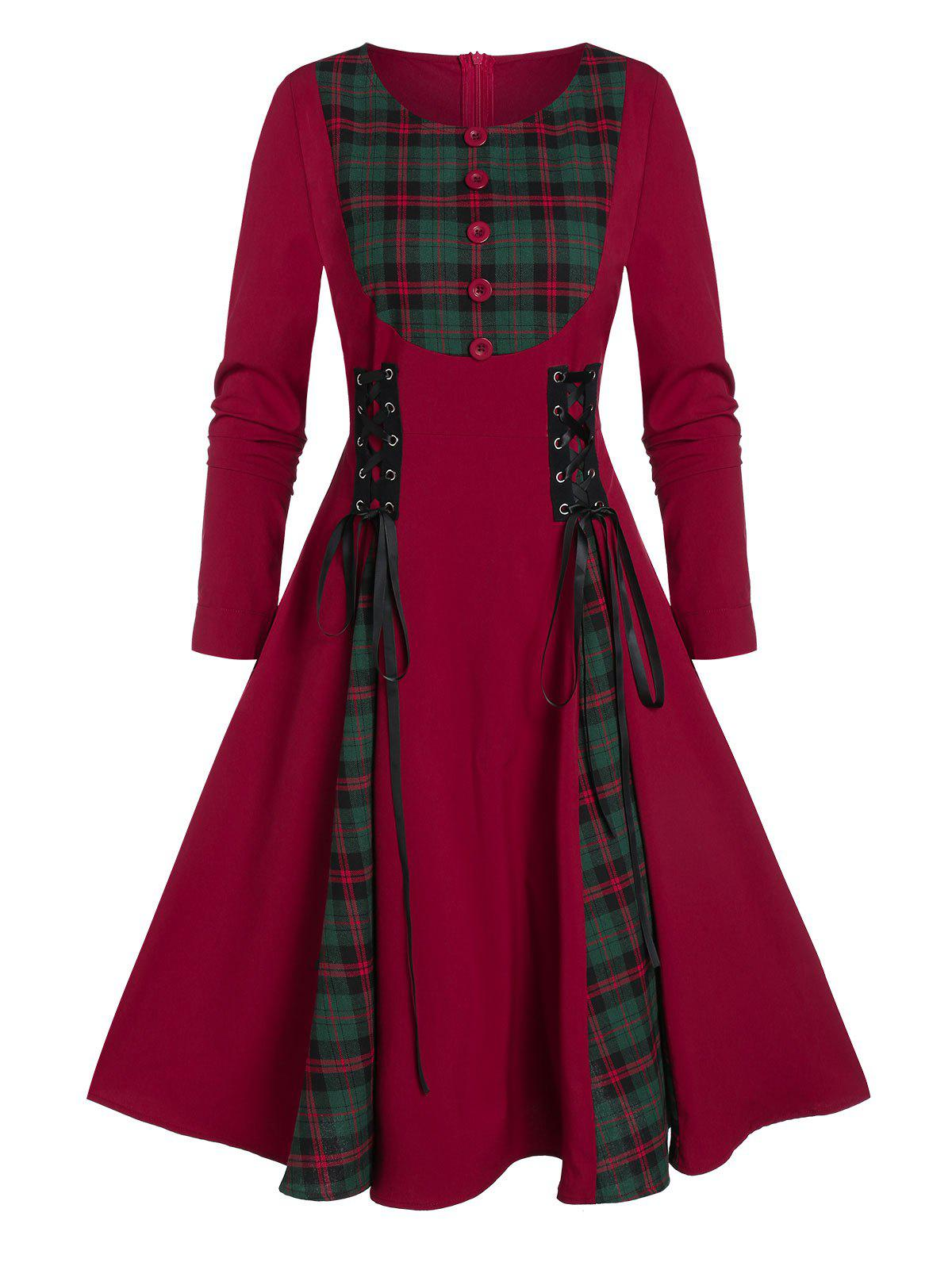Fancy Button Checked Panel Fit And Flare Lace Up Dress