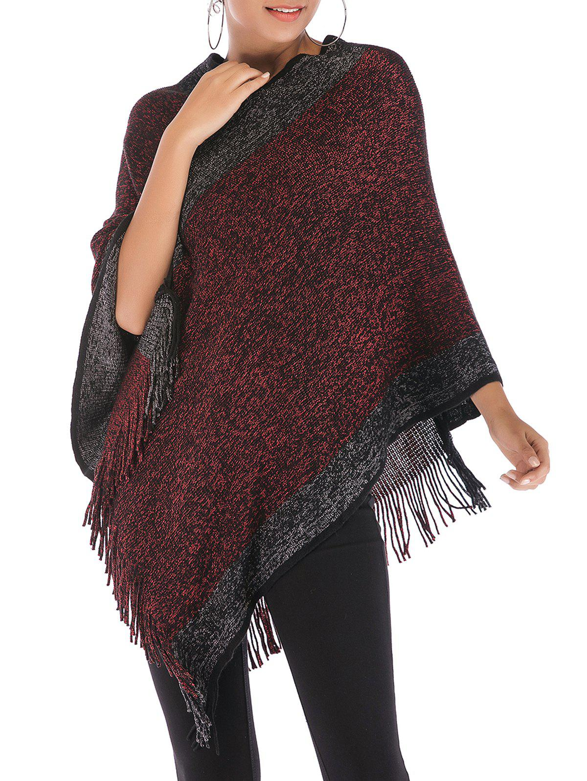 Discount Heathered Fringed Poncho Sweater