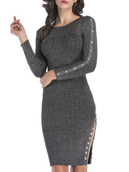 Shop Ribbed Buttons Metallic Thread Bodycon Jumper Dress