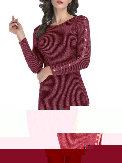 Discount Ribbed Buttons Metallic Thread Bodycon Jumper Dress
