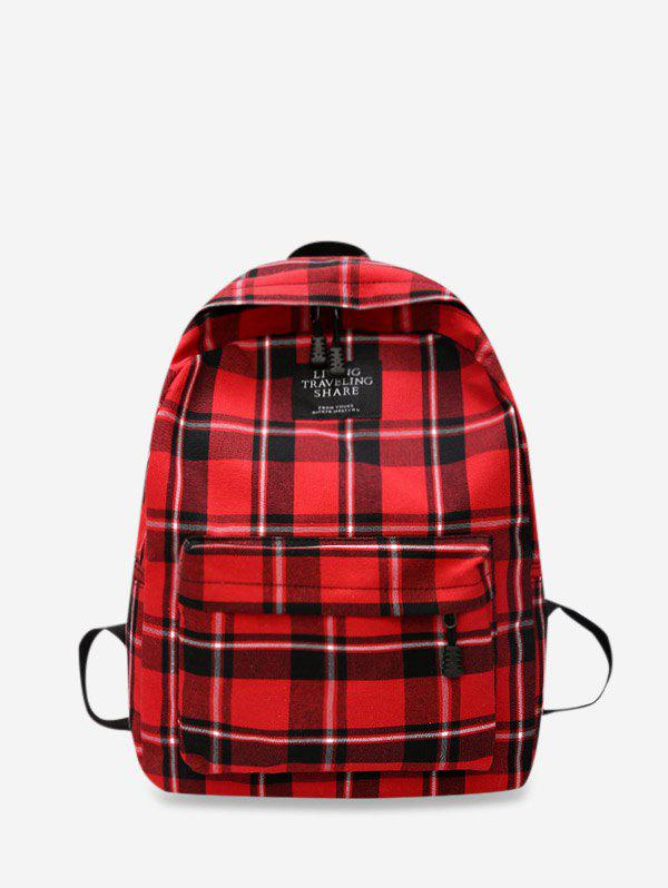 Outfit Grid Pocket Design Casual Student Chic Backpack