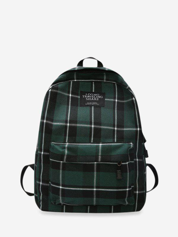 Online Grid Pocket Design Casual Student Chic Backpack