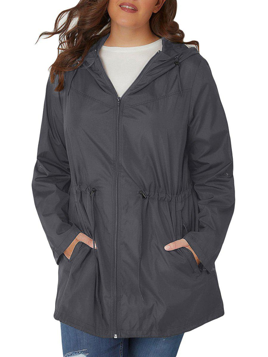 Plus Size Hooded Toggle coupe-vent Manteau Drawstring