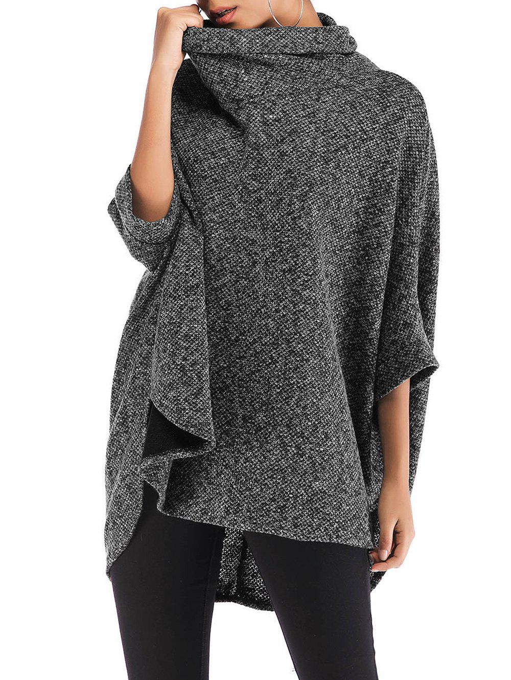 Outfit Roll Neck Heathered High Low Poncho Sweater