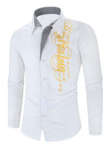 Letter Graphic Grid Print Button Long Sleeve Shirt - WHITE - 3XL