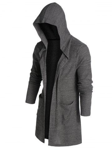 Hooded Double Pocket Ribbed Open Front Cardigan