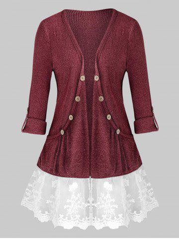 Plus Size Lace Panel Tab Sleeve Open Pocket Tunic Cardigan - RED WINE - 1X