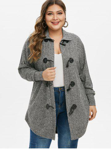 Plus Size Tunic Marled Long Sleeve Cardigan