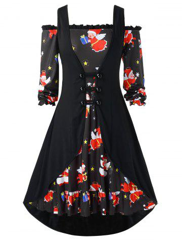 Plus Size A Line Printed Christmas Dress with Solid Vest