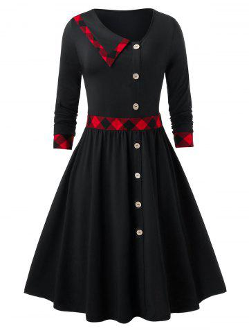 Vintage Mock Buttons Plaid Trim Swing Dress