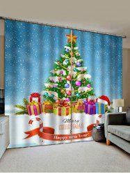 Merry Christmas Tree Gift Pattern Window Curtains -