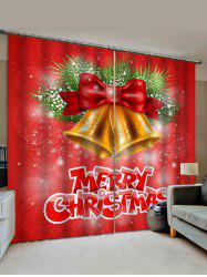 2 Panels Christmas Bell Letter Print Window Curtains -
