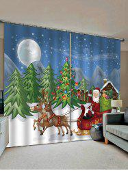 2 Panels Christmas Tree Santa Print Window Curtains -