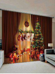 2 Panels Christmas Tree and Candle Print Window Curtains -