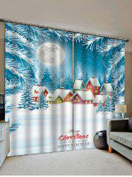 2 Panels Christmas Snow House Print Window Curtains -