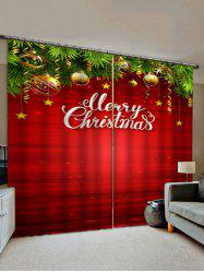 Merry Christmas Ball Window Curtains -