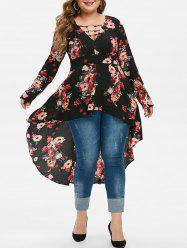Plus Size O Rings High Low Floral Blouse -
