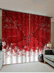 Christmas Snowflake Deer Pattern Window Curtains -