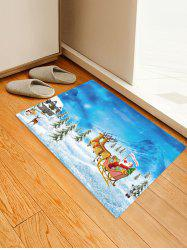Christmas Santa Claus Snow Pattern Print Flannel Floor Mat -