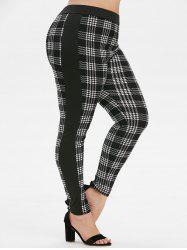Plus Size High Waist Houndstooth Leggings -