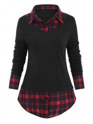 Button Placket Plaid Panel Mixed-media Knitwear -