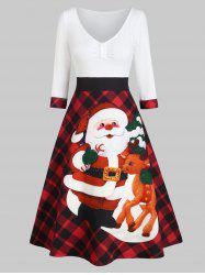 Christmas Santa Claus Plaid High Waisted Dress -