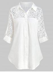 Plus Size Roll Up Sleeve Lace Panel Shirt -