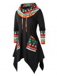 Plus Size Christmas Asymmetrical Tree Snowflake Cowl Neck Tunic Tee -