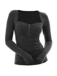 Plus Size Zippered Solid Sweetheart Collar T Shirt -