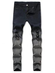 Ombre Destroyed Zip Fly Jeans -
