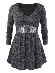 Plus Size Space Dye Sequined V Neck T Shirt -
