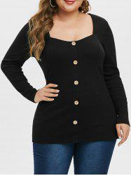 Plus Size Sweetheart Neck Buttoned T Shirt -