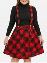 Plus Size Plaid Suspender Midi A Line Skirt -