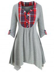 Plaid Panel Asymmetrical Button Placket T-shirt -