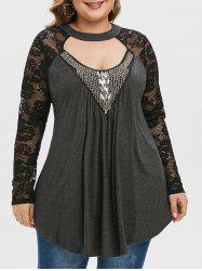 Plus Size Lace Sleeve Beaded Cut Out T Shirt -