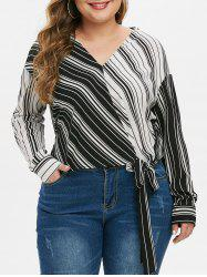 Plus Size Colorblock Striped Knot Blouse -