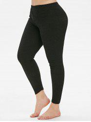 Plus Size High Rise Skinny Leggings en tricot - Noir 5X