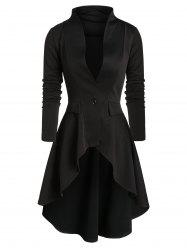 One Button High Low Skirted Coat -