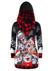 Plus Size Christmas Plaid Cat Imprimer Hoodie - Rouge 1X