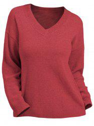 Plus Size V Neck Solid Pullover Sweater -