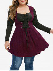 Plus Size Two Tone Tunic Sweetheart Neck Sweater -