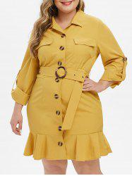 Plus Size poches Volants Roll Up Robe manches -